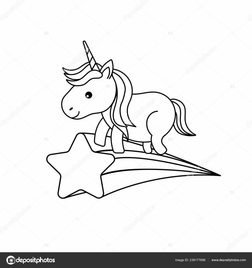 estrela cadente com unicornio molde