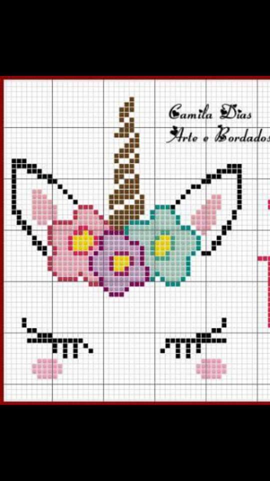 unicornio grafico para ponto cruz