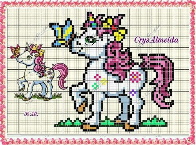 unicornio my little poney ponto cruz