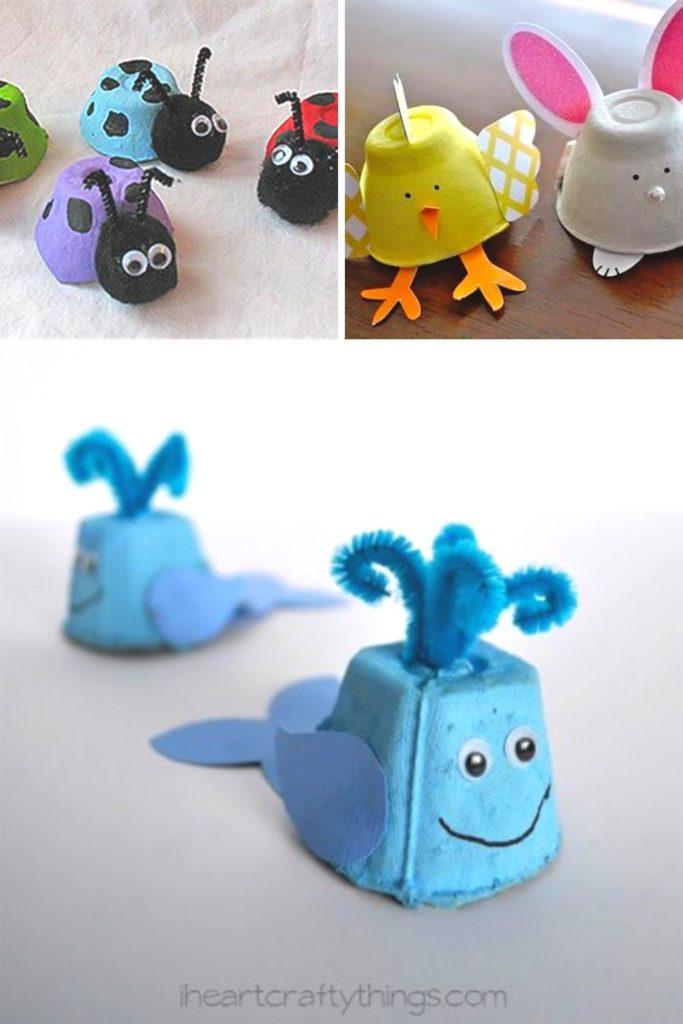 animais com caixa de ovo para crianças