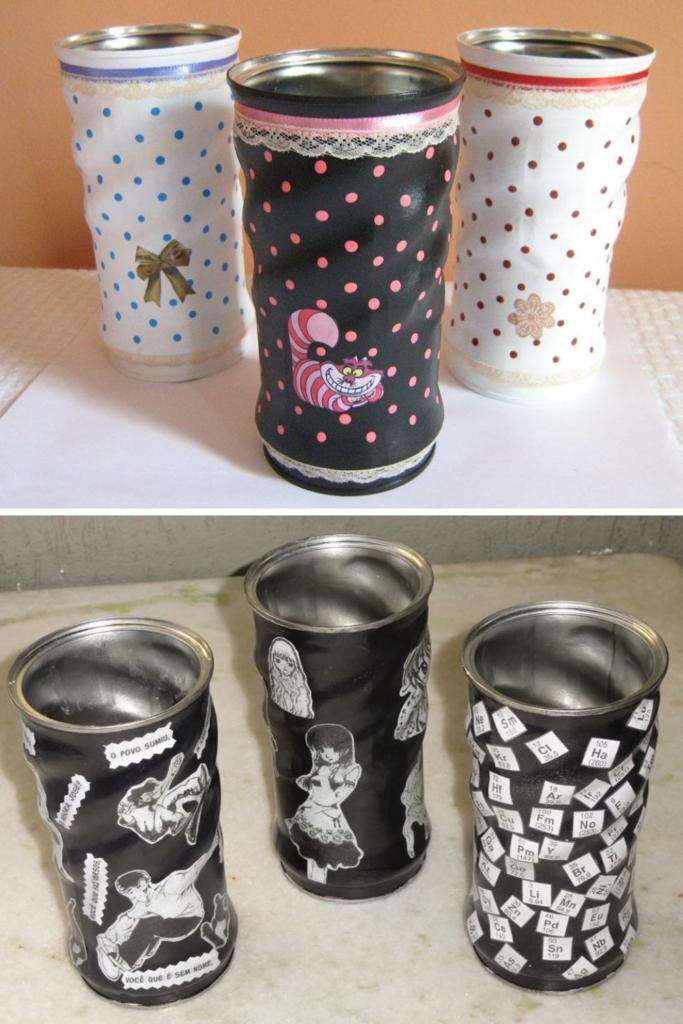 artesanato com lata de nescau reciclada