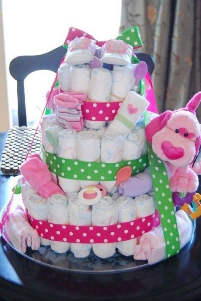 bolo de fraldas para cha de bebe