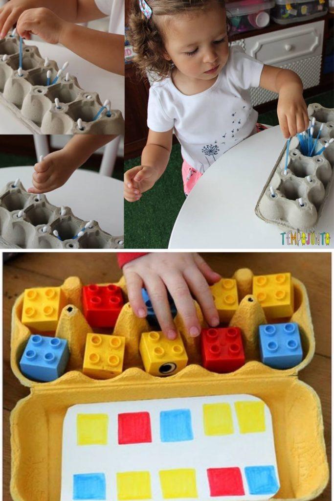 brinquedos ludicos com caixa de ovo reciclada