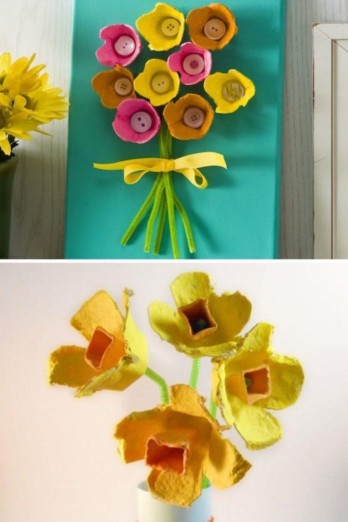 como fazer flores com caixa de ovos para decoração