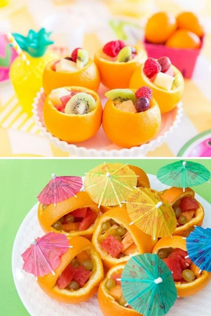 decoração com frutas na casca da laranja