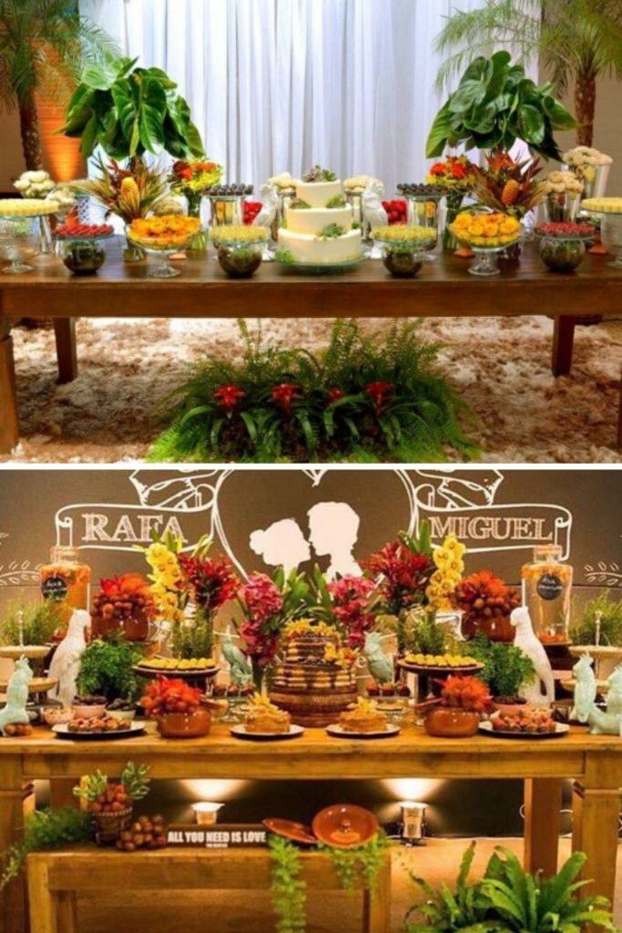 mesa de frutas para festa de casamento