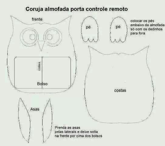 molde coruja almofada porta controle remoto