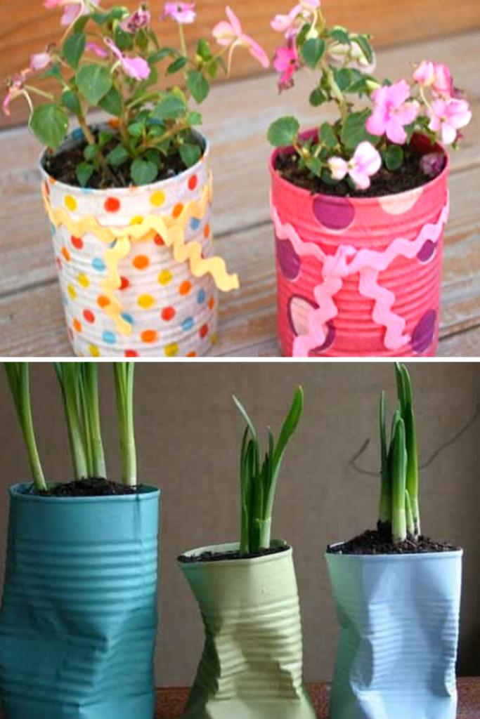 vasinho de planta com latinha reciclada