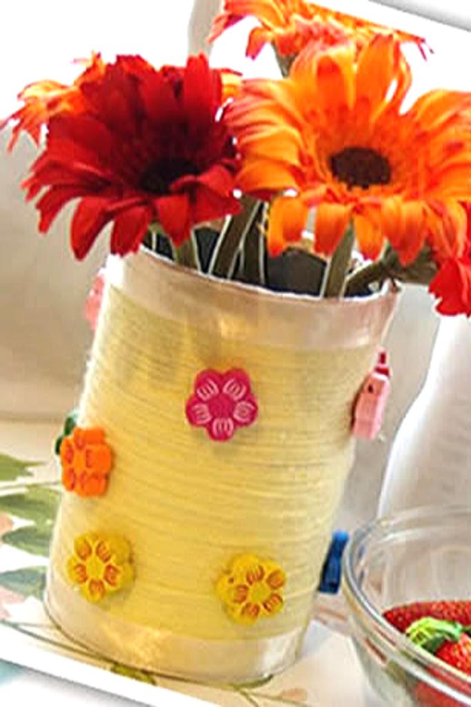 vaso de flor com latinha de aluminio