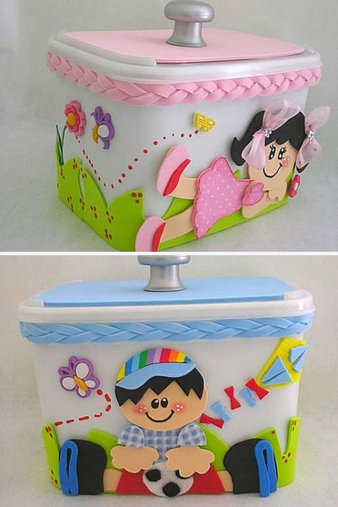 artesanato com pote de sorvete eva