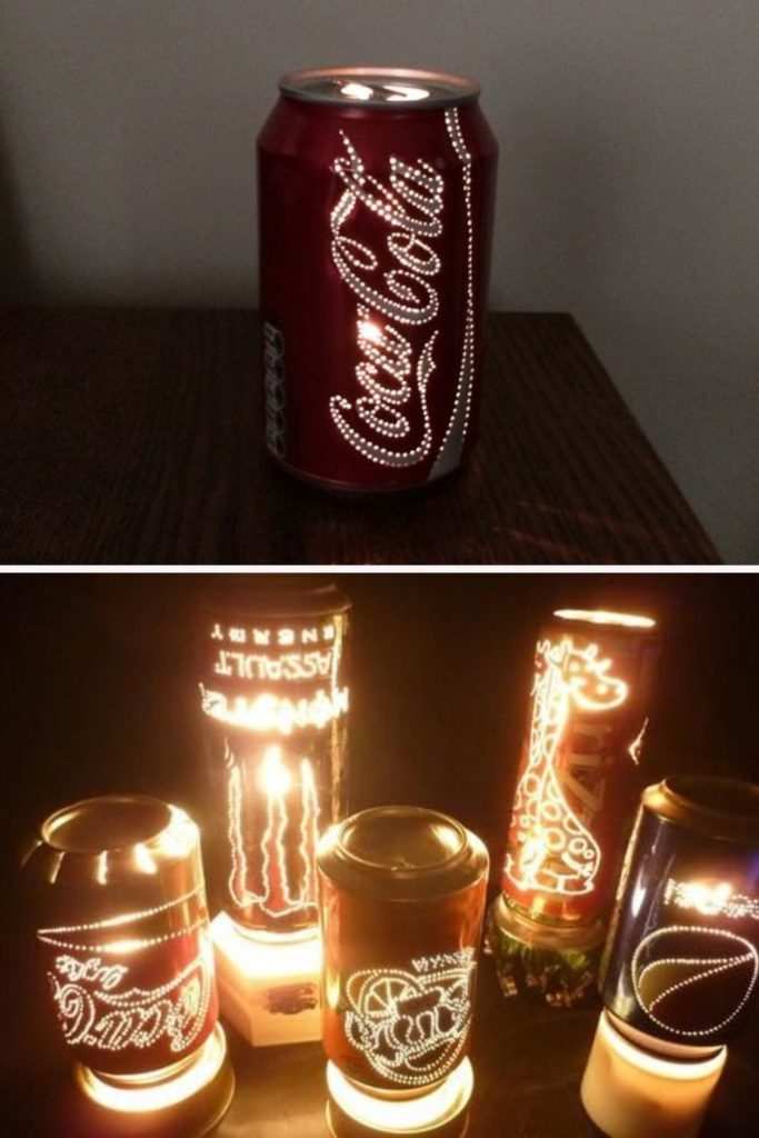 luminaria com latinha de refrigerante