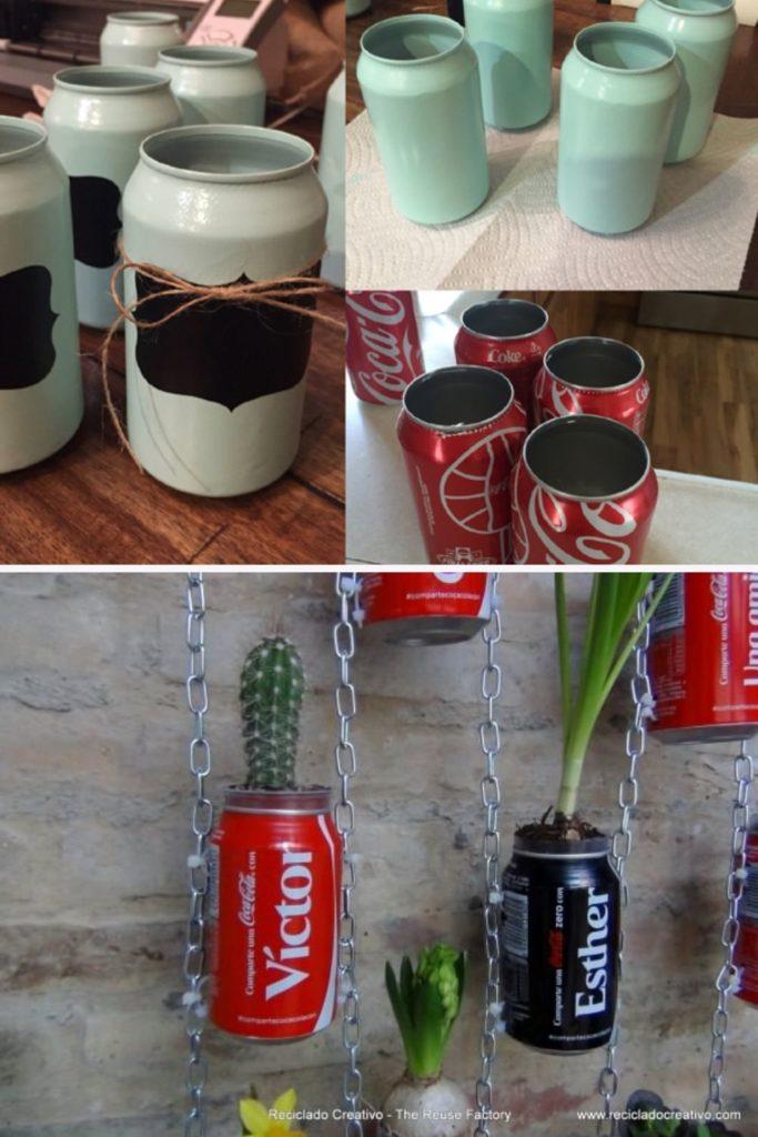 vasinhos com latinha de aluminio reciclada