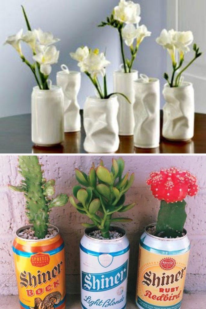 vasinhos de flores com latinha