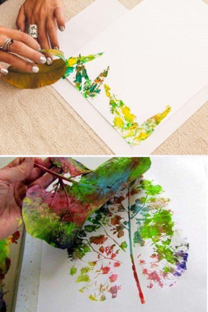 artesanato criativo com folhas