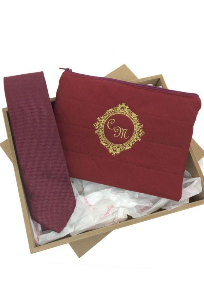 ideia de lembrancinha kit para padrinhos casamento