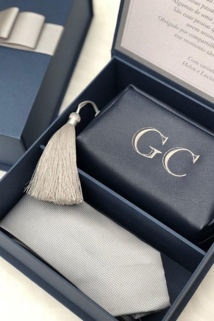 kit gravata e necessaire casamento padrinhos ideia de lembrancinha