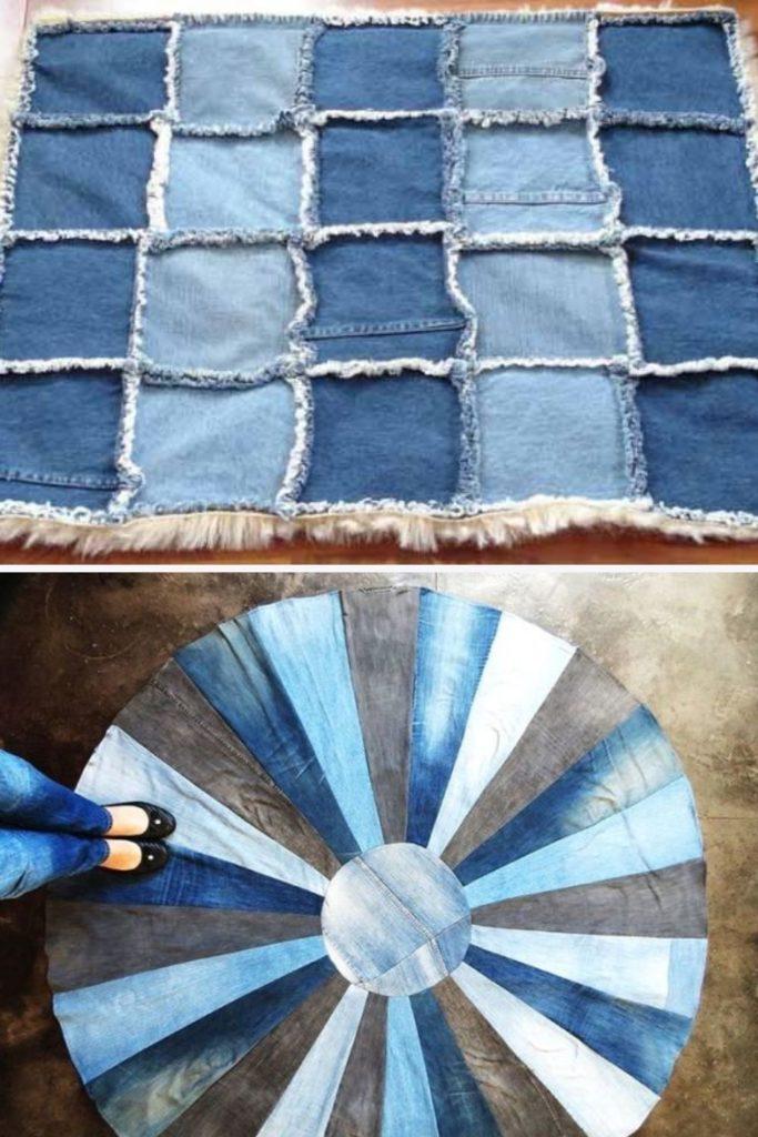 como fazer tapete de retalho com calça jeans