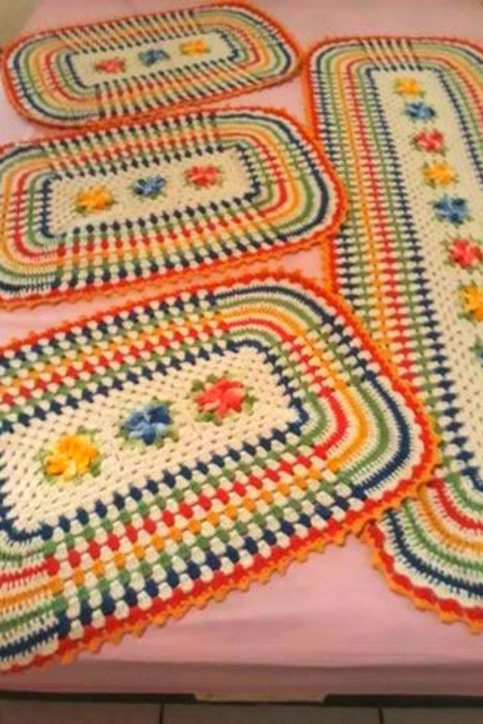 tapete croche cozinha colorido