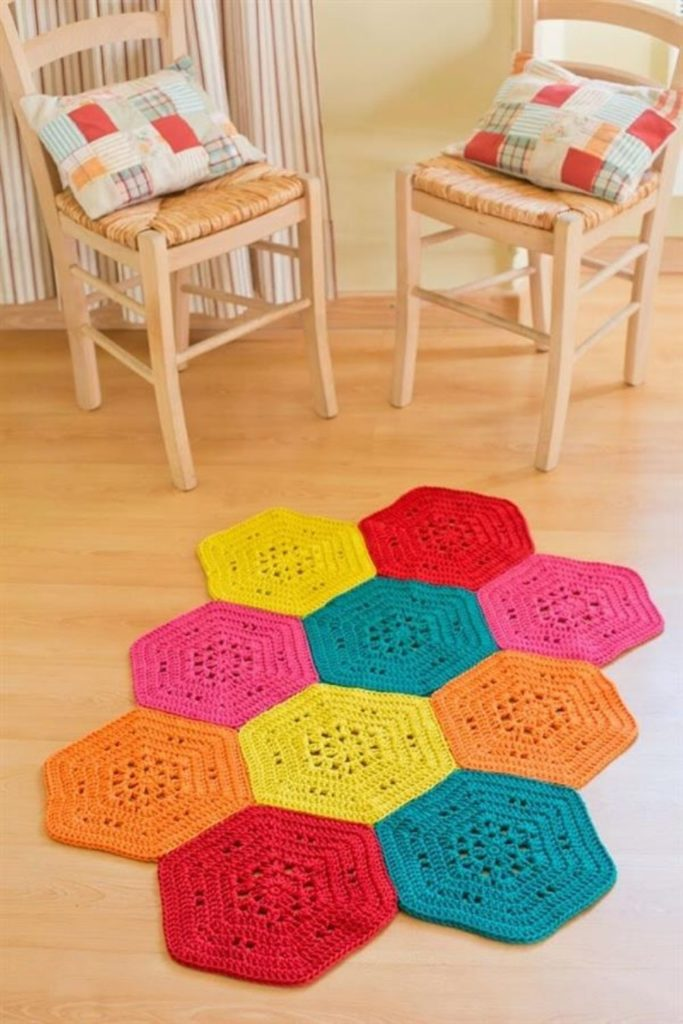 tapete de croche hexagonal