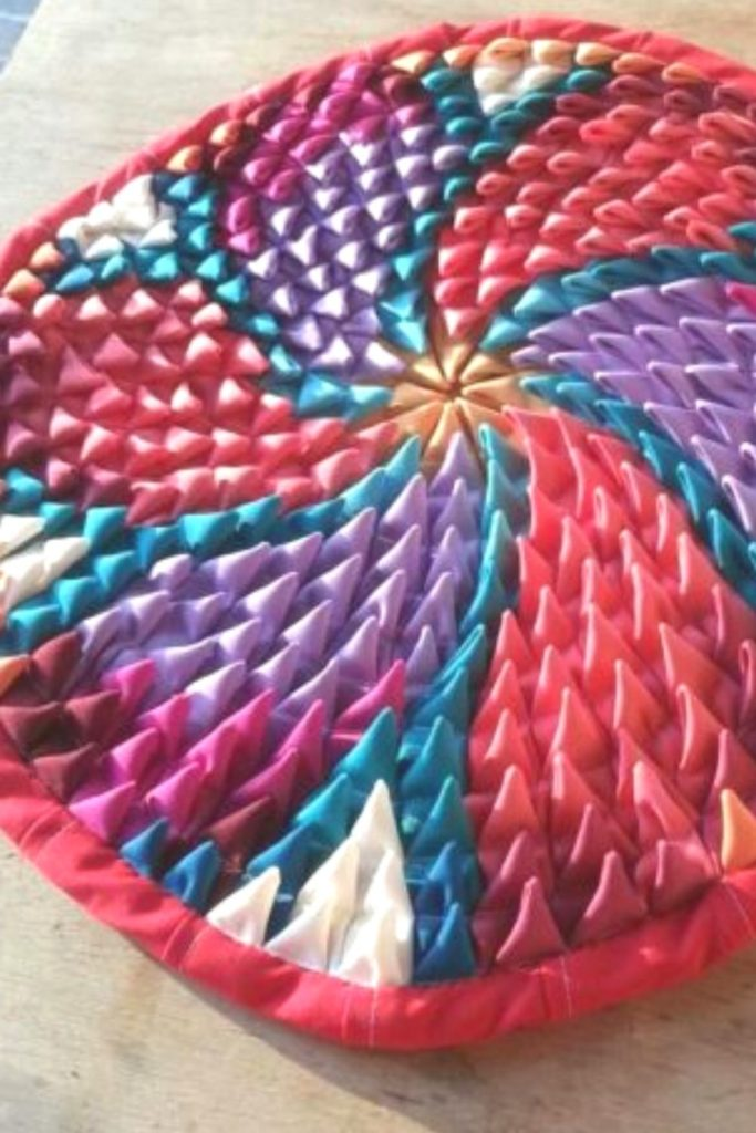 tapete de retalho redondo de tecido