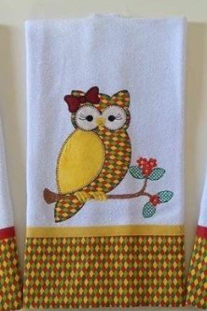 pano de prato bordado coruja patchwork