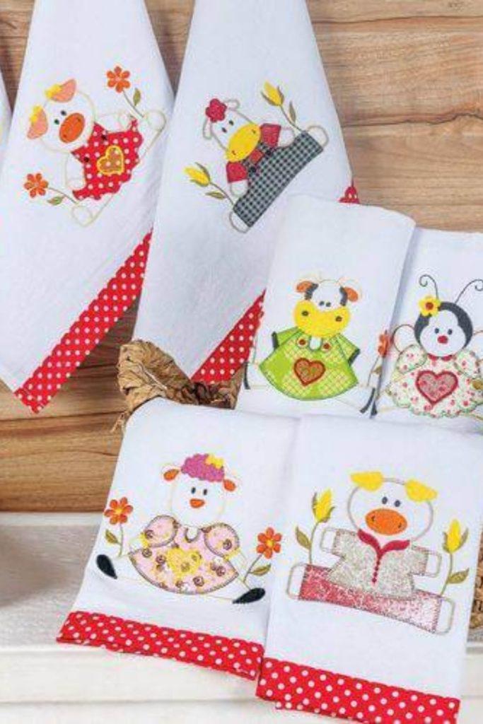 pano de prato bordado patchwork animais