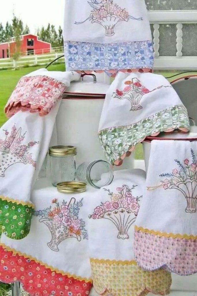 panos de prato bordado floral